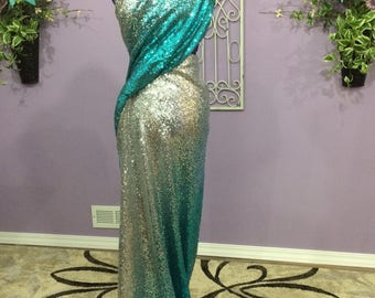 Silver and Teal dress