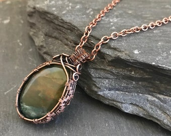 Bloodstone pendant || copper