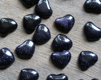 Blue Goldstone Small Stone Shaped Heart with Flat Back H103