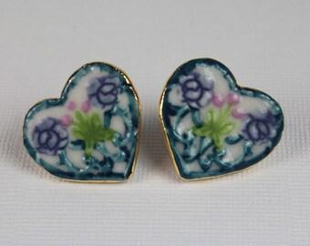 Heart Earrings With Purple Flowers Handmade Porcelain Ceramic Jewelry