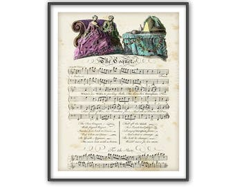 Antique Sheet Music Love Song Hand Colored Print Engraving Music Lover Page Wall Art Decorating Home Decor Room Interior 18th Century bk 422