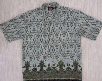 Batik Shirt 7 DIAMONDS Hawaiian Shirt Vintage Ethnic Hipster Boho Hippie India Print Tropical Bohemian Mens - L - Oahu Lew's Shirt Shack