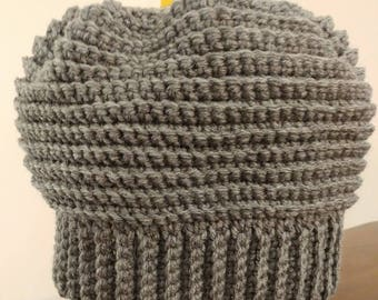 Ponytail Beanie crocheted Ready to ship!!