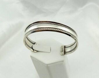 Vintage Simple Sterling Silver Cuff Bracelet Navajo Native American #SIMPLE-CF3