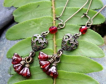 Bohemian Heart & Flower earrings- garnet red glass, antiqued brass - Vintage victorian - free shipping in US