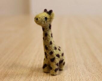 Handmade needle felted giraffe, soft sculpture, miniature, dollhouse giraffe