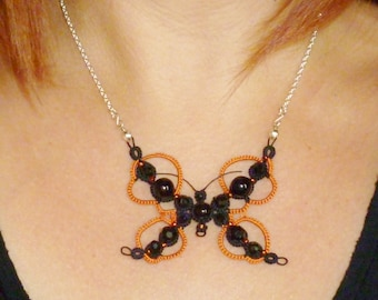 Tat pendant Lace Butterfly Statement necklace -A Strung Up Sophie butterfly pendant in orange and black
