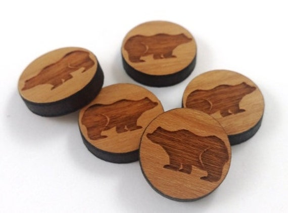 Laser Cut Supplies-8 Pieces.Wilderness Bear Charms - Laser Cut Wood -Earring Supplies- Little Laser Lab Sustainable Wood Products