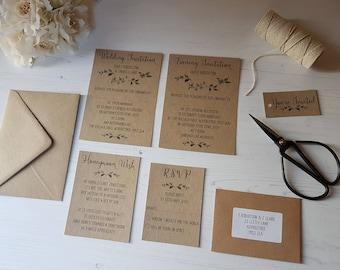 Kraft Wedding Evening Invitation/Honeymoon Wish Card/RSVP & Tag Vintage Postcard Style Rustic