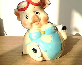 Vintage Piggy Bank Kitsch Money Box Pig Piggybank Ceramic Piggy Bank Tip Box Coin Bank Pig Figurine