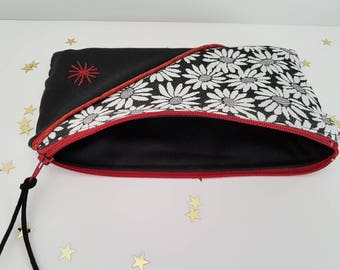 Red/Burgundy and black, soft pouch zippered and lined