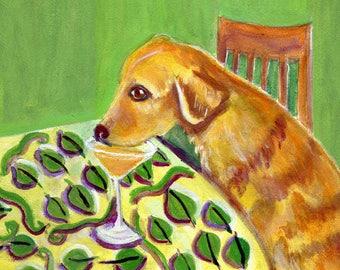 """Golden Retriever dog art, 5"""" x 5"""" blank card,"""