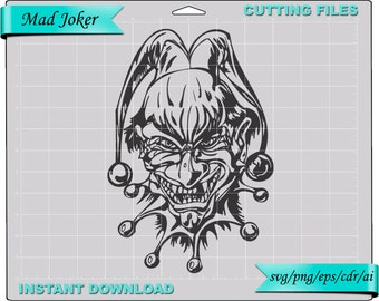 mad joker svg #11, evil joker svg, joker clipart, tattoo design, t-shirt design, circus svg clown clipart, digital download, scrapbook, cut