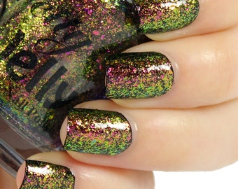 Nail Polish, Indie Nail Lacquer, Multichrome, Flakie, Red Nail Color, Color Changing, Flake Glitter Top Coat, Vegan, Gift for Her, CHIMERA