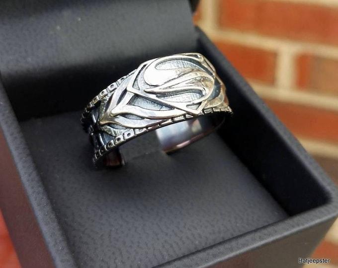 Custom Man of Steel Armor Inspired Superman Ring