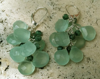 Chalcedony and turqoise Waterfall earrings