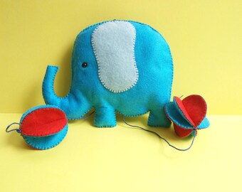Elephant nursery decoration, felt mobile, wall hanging, new baby gift, baby shower decoration, kids room decoration, blue, pink, boy, girl