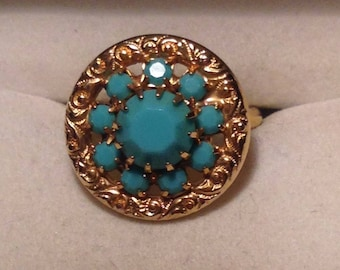 Gold Tone and Turquiose Ring