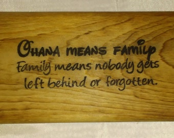 Family Wooden Sign, Ohana Wooden Sign, Wood Sign, Wooden Sign, Hand Made Wooden Sign ELWW0002