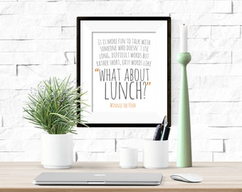 Winnie the Pooh What About Lunch Friendship Quote Printable Artwork - 8x10 Digital Download