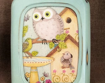 Aqua Blue Cottage Frame for Nursery, Kid Rooms, Home Decor  Blue Shabby Frame Upcycled FRAME with Owl Insert from Old Planner