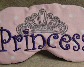 Embroidered Eye Mask for Sleeping, Cute Sleep Mask for Kids, Adults, Sleep Blindfold, Slumber Mask, Custom, Shade Princess Design, Handmade