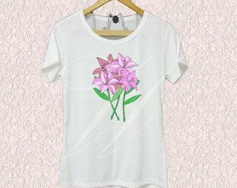 Lily tank top or shirt flower bouquet white tank/ short sleeve shirts size S M L XL cute tshirt /racer back tanks/ sleeveless tank
