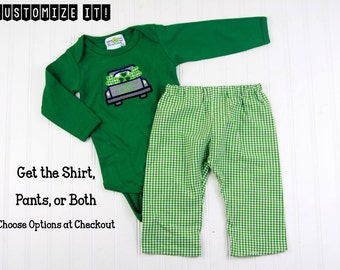 Baby St Patrick's Day Outfit - Baby Boy St Patricks Shirt - Boys Shamrock Truck Applique Bodysuit - St Patricks Day T-Shirt for Kids - Green