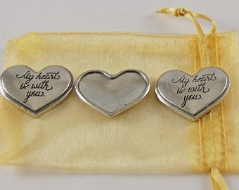 Set of 3 My Heart Is With You Sentiment Tokens with Organza Bag