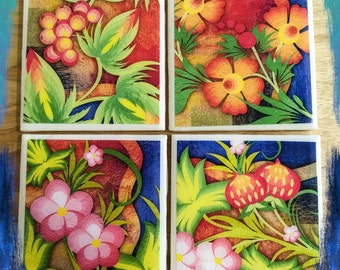 "4"" x 4"" Enchanted Garden Ceramic Coasters (Set of 4) - Flower Coasters - Nature Coasters - Drink Coasters - Home Decor -"