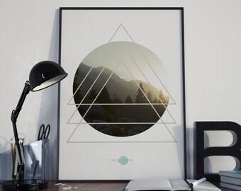 triangles Wall - Triangles Print - Forest Print - Forest Art Print - Circle Art - Circle Print - Forest Photography - Geometric Print