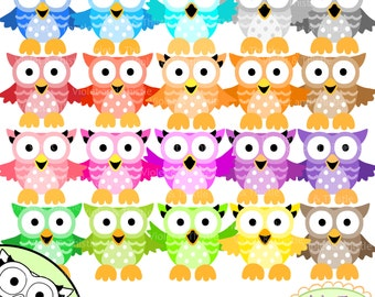 Color Owls Clip Art Owl Clip art Clipart Mixed Variety of Colors Rainbow, Bright, Jewel Colored Owls Commercial Use