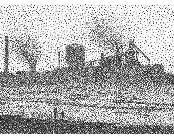 Redcar Blast Furnace Print, Stipple Art