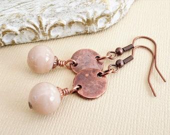 Glass bead and copper earrings, Mykonos coins and Indian glass bead earrings, rustic copper and cream earrings, beige and brown earrings