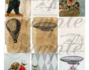 TiffanyJane-Off to the Circus-AiRship HoTair Balloons elephant Collage Sheet-- Instant download for art tags embellishments paper art