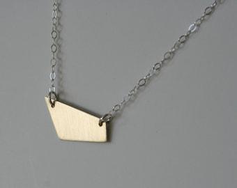 Trapezium Necklace, Trapezoid Necklace, Geometric Jewellery, Geometric Jewelry, Brass Jewelry, Modern Jewelry, Minimal Design