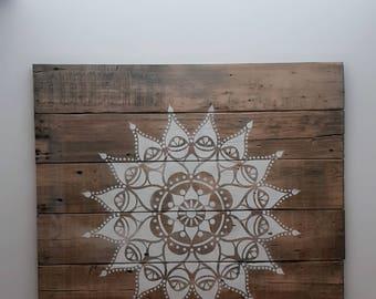 Mandala, Boho, Morrocan Style Design on Reclaimed Wood (LARGE)