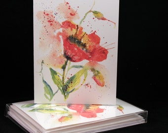 Poppy Flower Original Watercolor PRINT Note Card Set, Watercolor Cards, Flower Cards, Watercolor Poppy Cards, Flowers, Mother's Day Cards