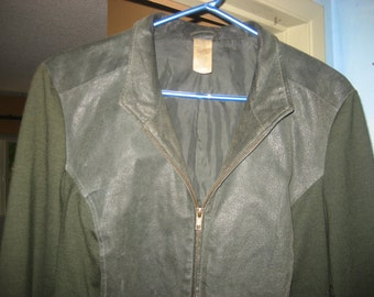 Half Genuine Leather and Half rayon/polyester/spandex Dark Olive Green Jacket