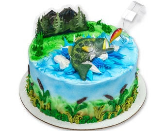 Large Bass Fish Topper/ Fisherman's Birthday Cake Topper/ Fishing Cake Kit/ Bass Fish Cake Kit/ Fishing Cake Kit Topper