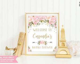 Pink and Gold Floral Bridal Shower Welcome Sign. Blush Pink and Gold Wedding Shower Printable Decor. Pastel Bachelorette Hens Party. FLO18