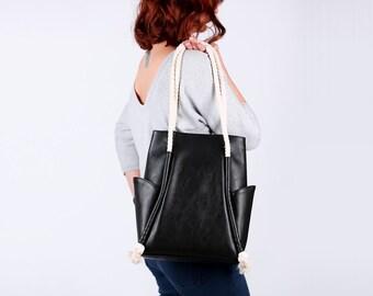 Black leather bag, vegan leather shoulder bag, hobo bag, minimalistic bag, geometric bag, everyday bag, Gift for her,  Black and White Bag