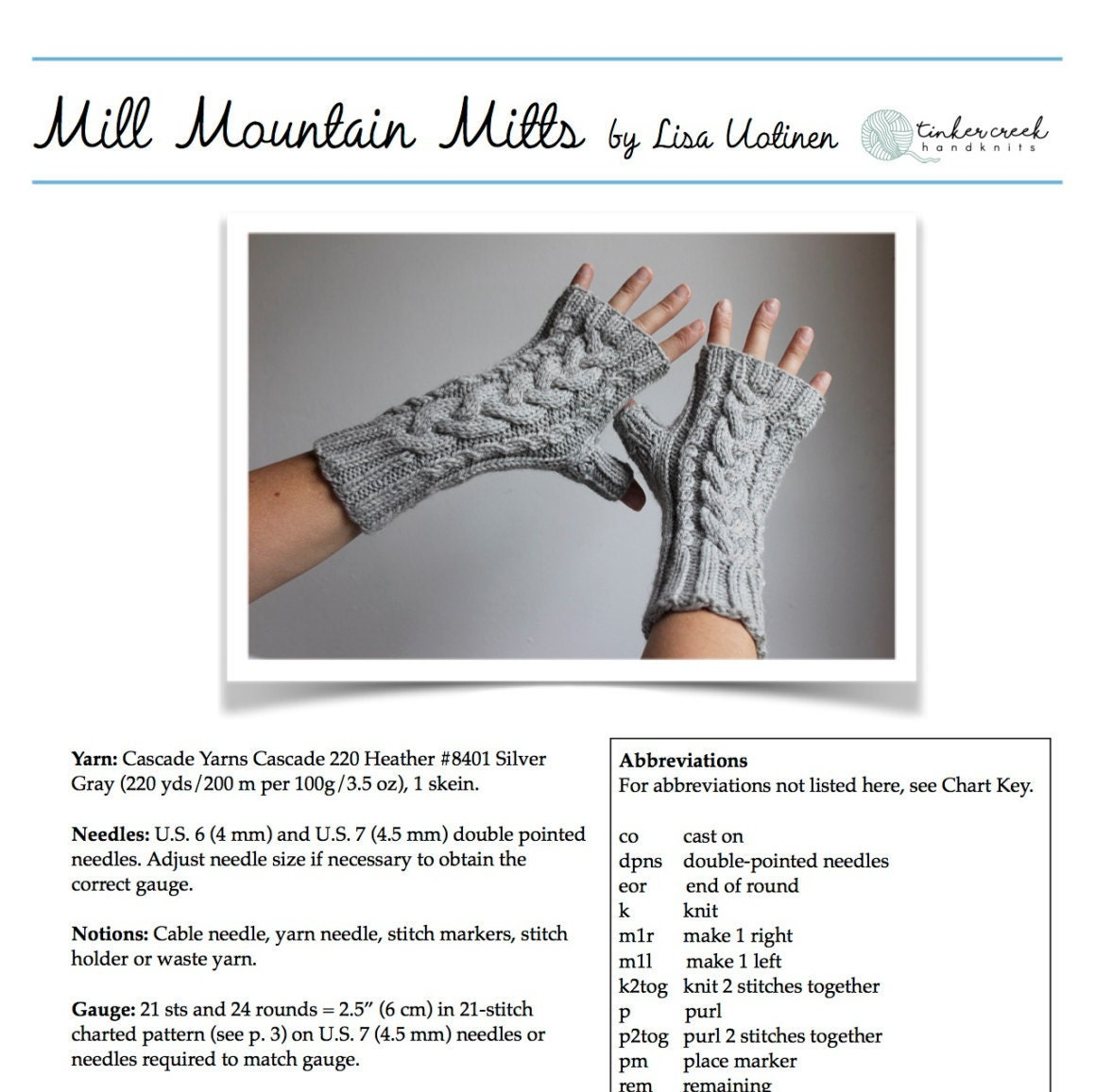 Cable Knit Fingerless Gloves Knitting Pattern, Instant Download, PDF ...