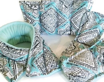 Pregnancy, New Mom Survival Kit, Pamper New Mother Gift Set, Microwave Heat Pads for Feet, Neck Back, doula relaxation set aqua