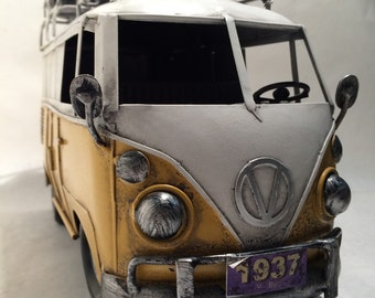 VW Yellow Camper Van Split Screen Kombi Bus - Volkswagen Miniature Metal Toy Car - Gift for Surfer