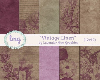 Vintage Linen Shabby Chic Digital Paper Backgrounds - Stationery, Junk Journal, Travelers Notebook Junk Journal, Instant Download, CU