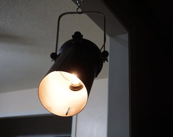 Theater spot light re purposed to pendant lamp. Vintage 1960's spot light housing and bracket. Industrial lighting. Offers considered!!