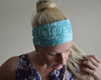 SALE Lilly Pulitzer Vintage Fabric Tiger Catfish Headband. Aqua. Monogram Option. Preppy.