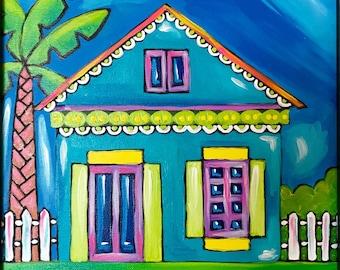 Caribbean Living, Original Acrylic Painting On Canvas. Caribbean House. Whimsical painting.