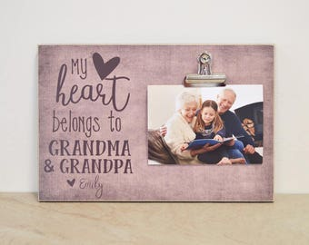 Grandparents Picture Frame, Gift For Grandparents, Personalized Photo Frame  {My Heart Belongs To Nana & Papa}  Custom Picture Frame